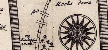 Strip map showing Rooksdown