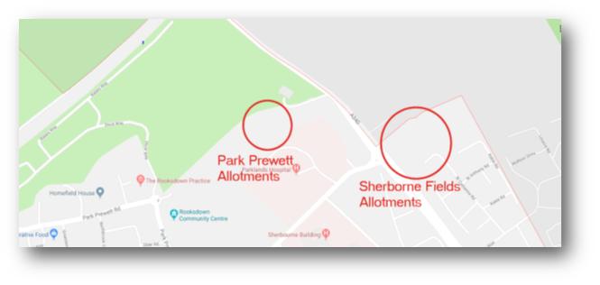 Map of Rooksdown Allotments